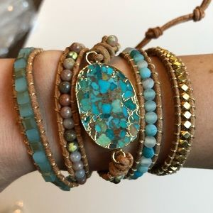 Jewelry - Natural Turquoise & Brown Leather Wrap bracelet
